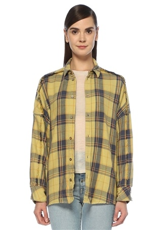 Julos Sarı Ekoseli Püskül Detaylı DüşükKol Gömlek