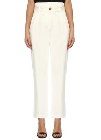 IRO Kadın Desiring Beyaz Yüksek Bel Kuşaklı Pileli Pantolon 38 FR