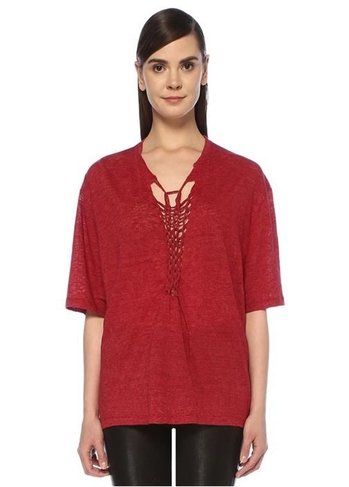 Kind Kırmızı Yaka Detaylı Oversize Keten T-shirt
