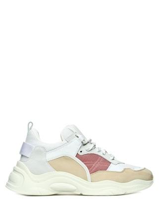 IRO Kadın Beyaz Pembe File Dokulu Deri Sneaker 38 FR