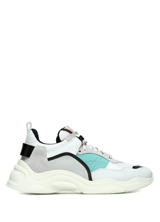 Beyaz Yeşil File Dokulu Kadın Deri Sneaker