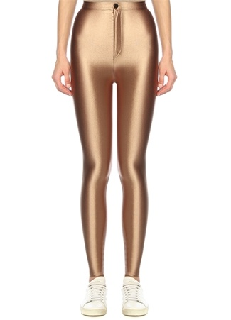 Anais & Margaux Kadın Cecile Gold Yüksek Bel Parlak Streç Pantolon Altın Rengi S EU