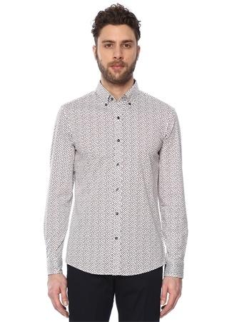 Michael Kors Erkek Bordo Beyaz Düğmeli Yaka Mikro Desenli Gömlek Mor XL Ürün Resmi