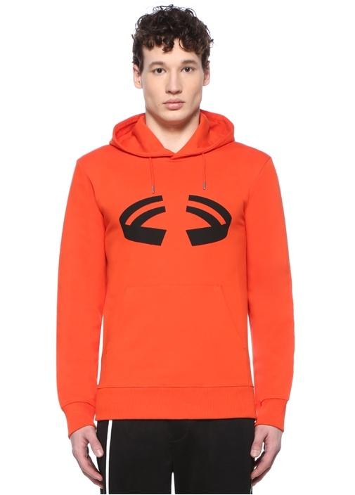 Turuncu Kapüşonlu Baskılı Logolu Sweatshirt