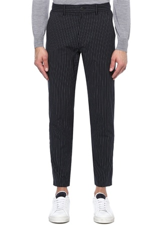 Lacivert Yüksek Bel Çizgili Pantolon