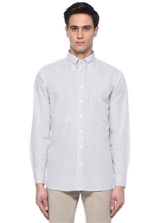 Beyaz Mikro Desenli Düğmeli Yaka Gömlek