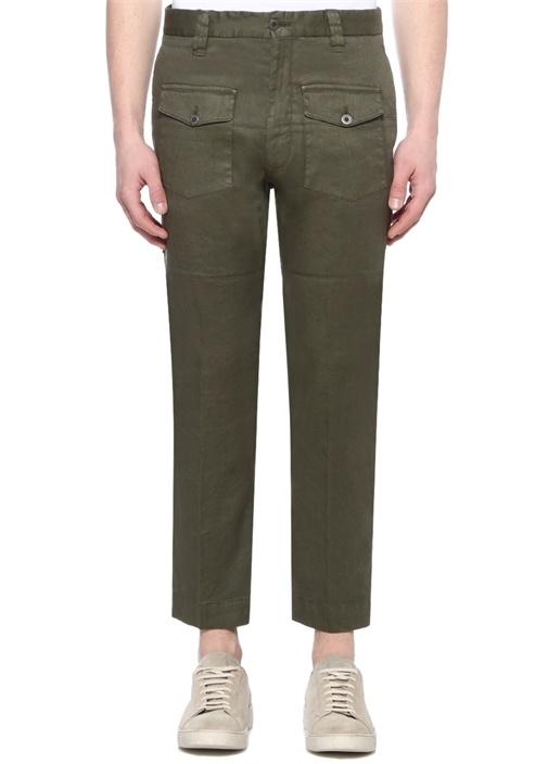 Yeşil Paça Detaylı Keten Pantolon