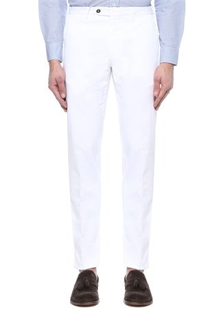 Beyaz Normal Bel Kanvas Pantolon