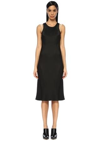 7fa6caee74f40 Helmut Lang Kadın Siyah Askı Detaylı Midi Saten Elbise M EU