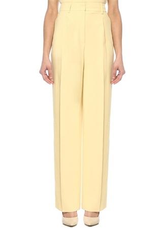Sarı Yüksek Bel Pileli Bol Krep Pantolon
