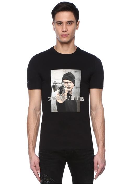 Siyah Bisiklet Yaka Baskılı T-shirt