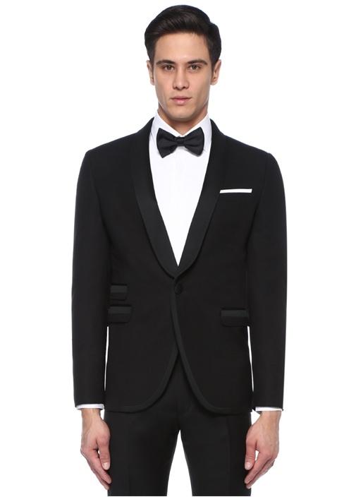 Slim Fit Siyah Şal Yaka Yün Smokin Ceketi