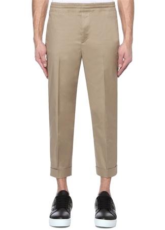 Slim Fit Bej Düşük Bel Dar Paça Pantolon