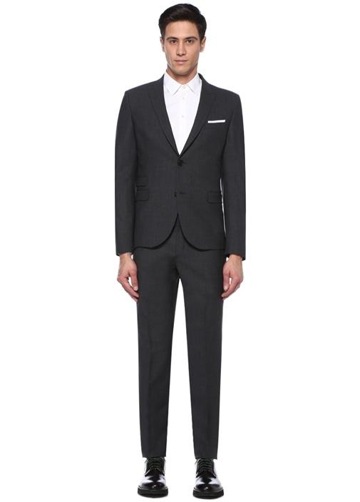 Slim Fit Antrasit Kırlangıç Yaka Takım Elbise