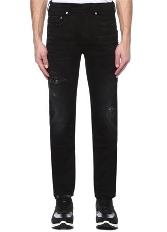 Skinny Fit Siyah Yıpratmalı Jean Pantolon
