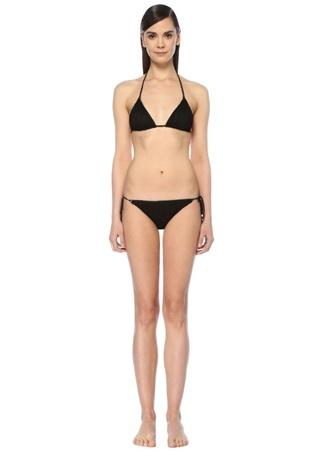Siyah Zikzak Desenli Üçgen Bikini Takımı