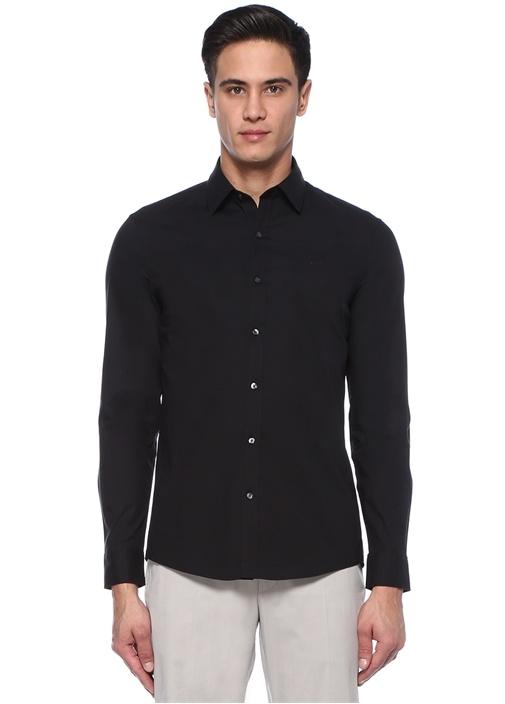 Siyah İngiliz Yaka Stretch Gömlek