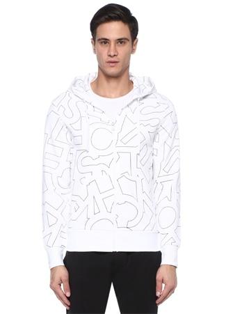 Erkek Beyaz Kapüşonlu Mikro Logo Baskılı Sweatshirt XL EU
