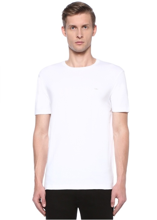 Beyaz Bisiklet Yaka Logo Jakarlı T-shirt