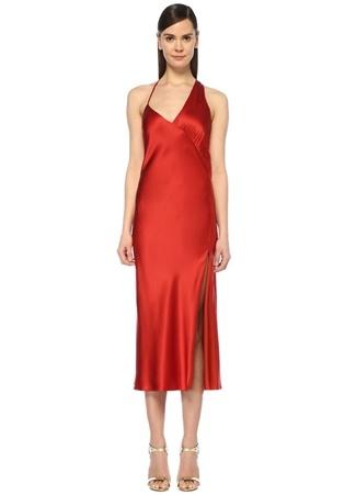 Michelle Mason Kadın Kırmızı V Yaka Asimetrik Midi İpek Saten Elbise 4 US