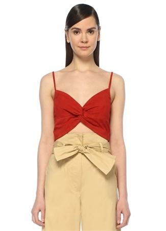 Michelle Mason Kadın Kırmızı V Yaka Önü Düğüm Detaylı Crop Süet Bluz 4 US