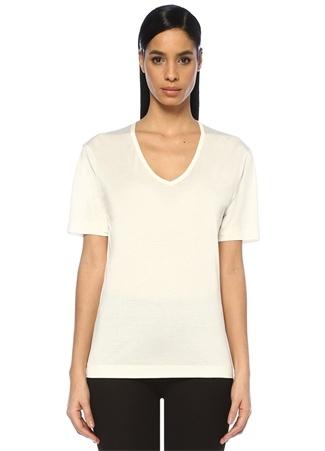 Joseph Kadın Beyaz V Yaka Basic İpek T-shirt L EU female