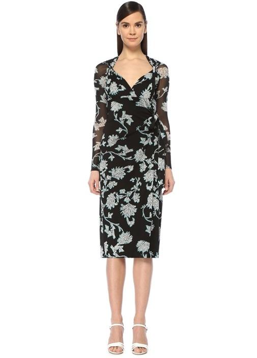 Dıane Von Furstenberg Marin Siyah Çiçekli Düğümlü Midi Anvelop Elbise – 3115.0 TL