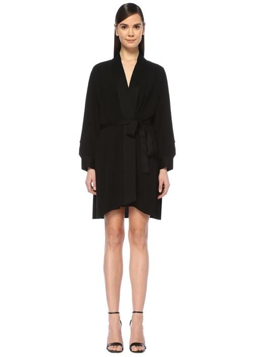Deon Siyah V Yaka Mini Saten Krep Anvelop Elbise