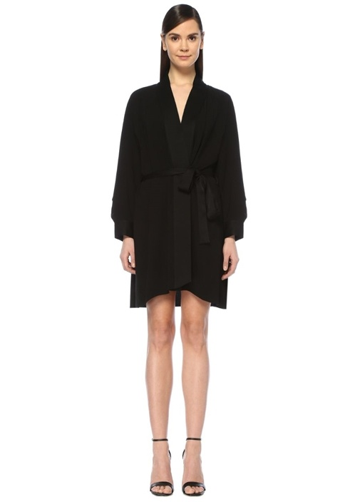 Dıane Von Furstenberg Deon Siyah V Yaka Mini Saten Krep Anvelop Elbise – 2940.0 TL