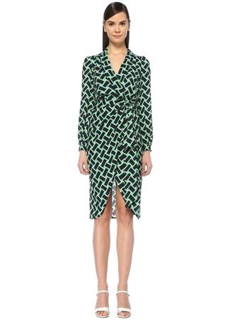 f4cc44914bc92 Diane Von Furstenberg Kadın Carla Tulip Lacivert Şal Yaka Midi Anvelop Elbise  Siyah 2 US · Beymen > ...