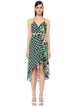 8c1c28f5a8260 Diane Von Furstenberg Kadın Katsia V Yaka Colourblock Midi Anvelop Elbise  Siyah 6 US · Beymen > ...