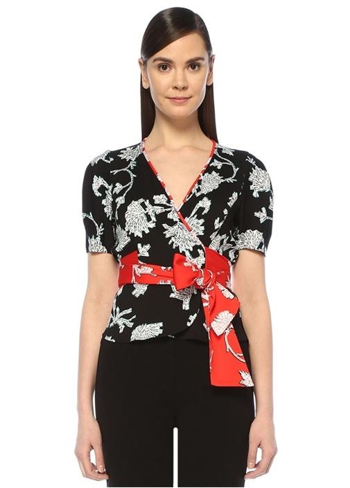Alexia Kırmızı Siyah Çiçek Desenli Anvelop Bluz