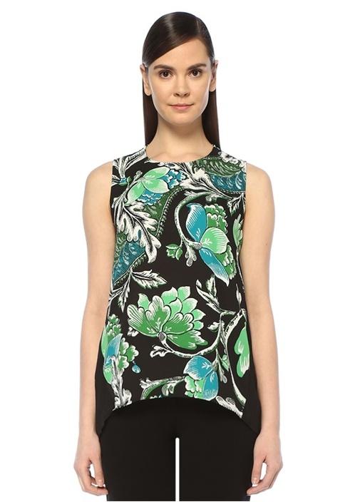 Silvie Siyah Çiçekli Asimetrik Pileli Kolsuz Bluz