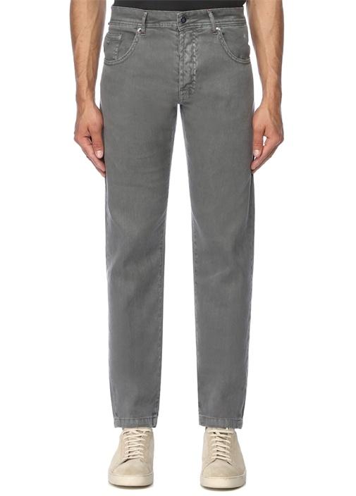 Gri Normal Bel Boru Paça Jean Pantolon