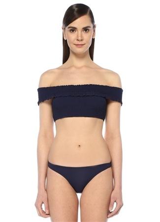 Lacivert Omzu Açık Fırfırlı Bikini Üstü