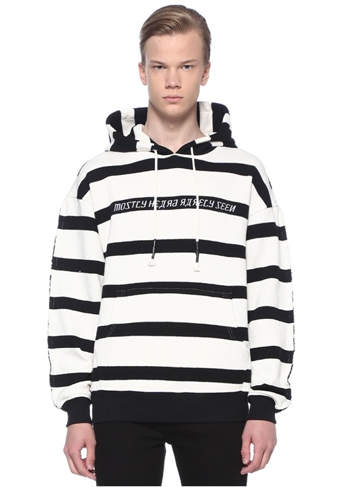 Hype Man Siyah Beyaz Kapüşonlu Şeritli Sweatshirt