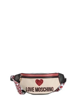4621d1a0bcb31 Standart female Çok Renkli Love Moschino Kadın Siyah Bej Nakışlı Logolu  Deri BelÇantası EU