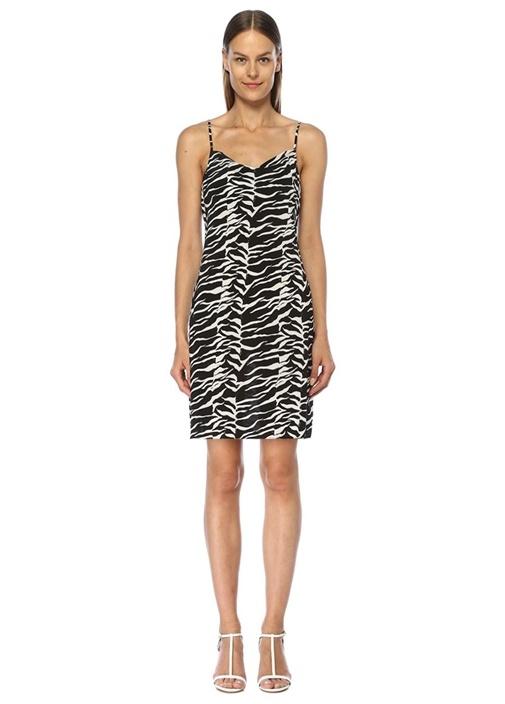 Twiggy Degaje Yaka Zebra Desenli Mini Elbise
