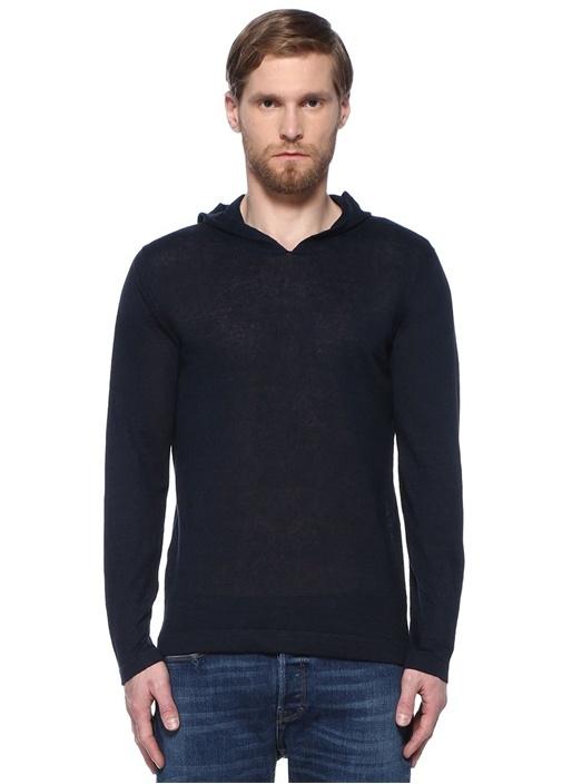 Lacivert Kapüşonlu Keten Sweatshirt