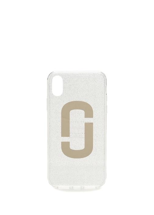 Gri Logo Baskılı Simli ıPhone X TelefonKılıfı