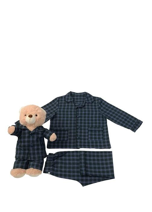 Koyu Yeşil Erkek Çocuk Uyku Arkadaşlı Pijama Seti