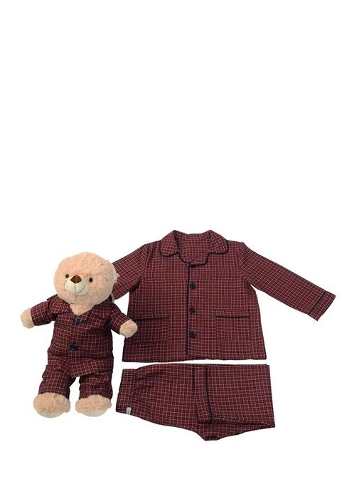 Bordo Unisex Çocuk Uyku Arkadaşlı Pijama Seti