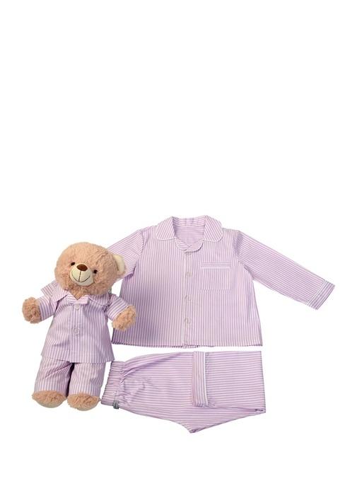 Pembe Beyaz Kız Çocuk Uyku Arkadaşlı Pijama Seti