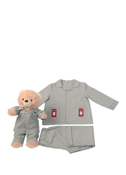 Gri Beyaz Unisex Çocuk Uyku Arkadaşlı Pijama Seti