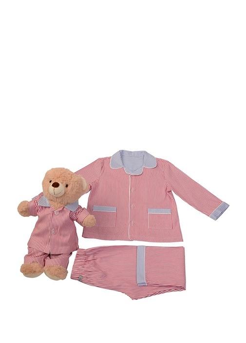 Kırmızı Unisex Çocuk Uyku Arkadaşlı Pijama Seti