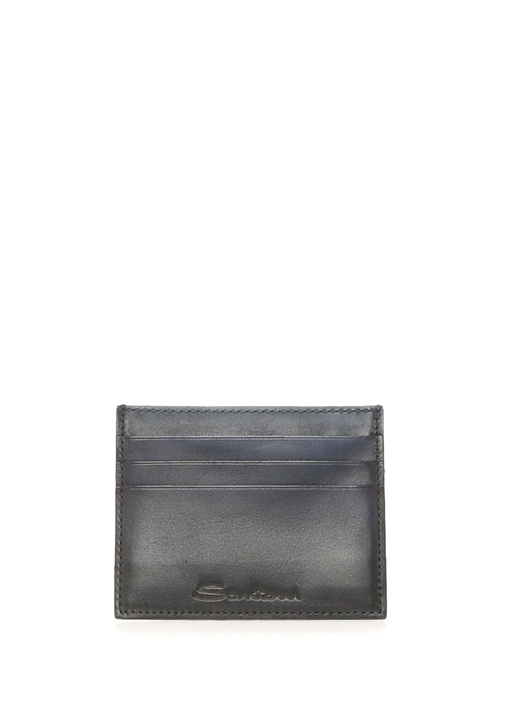 Lacivert Logolu Erkek Deri Kartlık