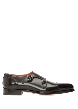 Siyah Çift Toka Detaylı Erkek Deri Ayakkabı