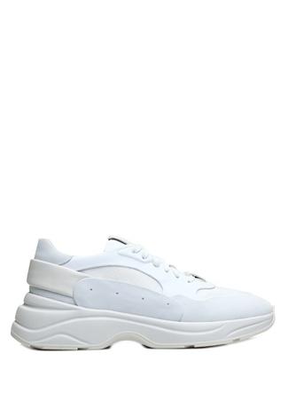 Santoni Sport Erkek Beyaz Garni Detaylı Deri Sneaker 9 UK male