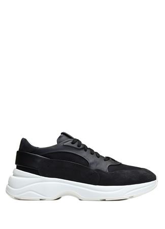 Santoni Sport Erkek Siyah Garni Detaylı Deri Sneaker 9 UK male