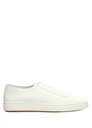 Santoni Sport Erkek Beyaz Dokulu Deri Sneaker UK male 10